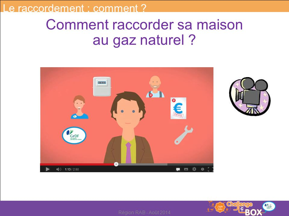 Comment raccorder sa maison au gaz naturel Le raccordement : comment 15 Région RAB - Août 2014