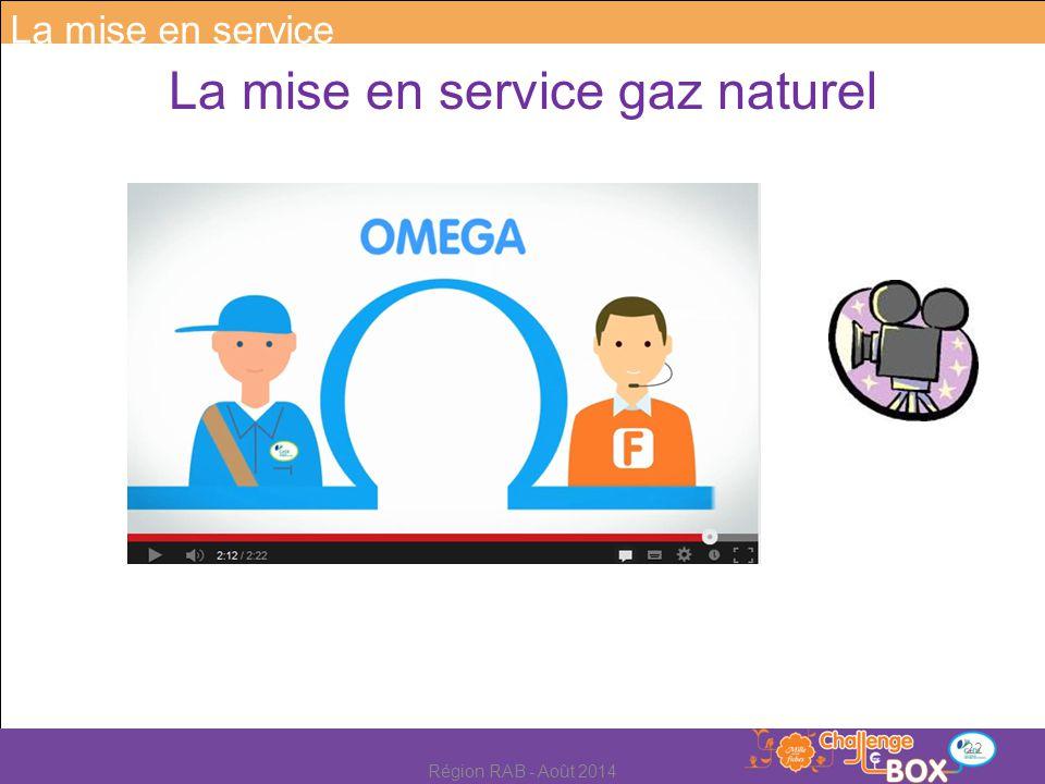 La mise en service gaz naturel La mise en service 22 Région RAB - Août 2014