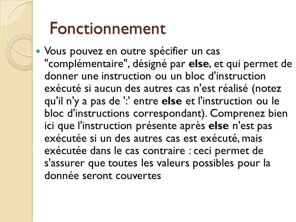 Exemple illustratif Case Code_wilaya of 1: Showmessage(' Wilaya adrar'); 2:Showmessage('Wilaya chlef'); 16:Showmessge('Wilaya alger'); else showmessage(c'est une autre wilaya');