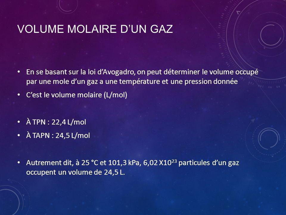 VOLUME MOLAIRE D'UN GAZ En se basant sur la loi d'Avogadro, on peut déterminer le volume occupé par une mole d'un gaz a une température et une pressio