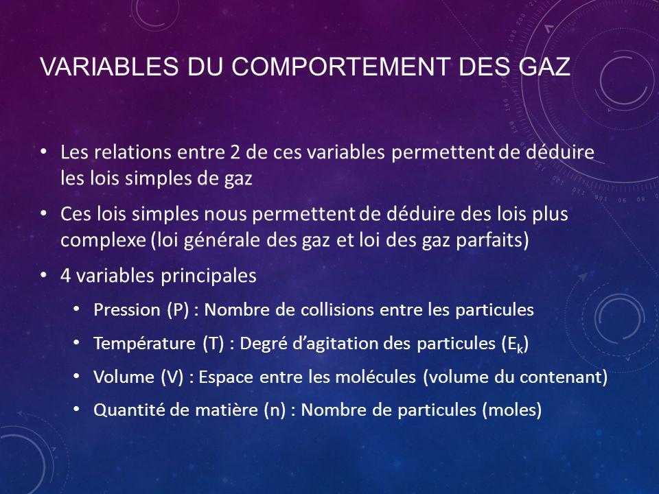 VARIABLES DU COMPORTEMENT DES GAZ Les relations entre 2 de ces variables permettent de déduire les lois simples de gaz Ces lois simples nous permetten