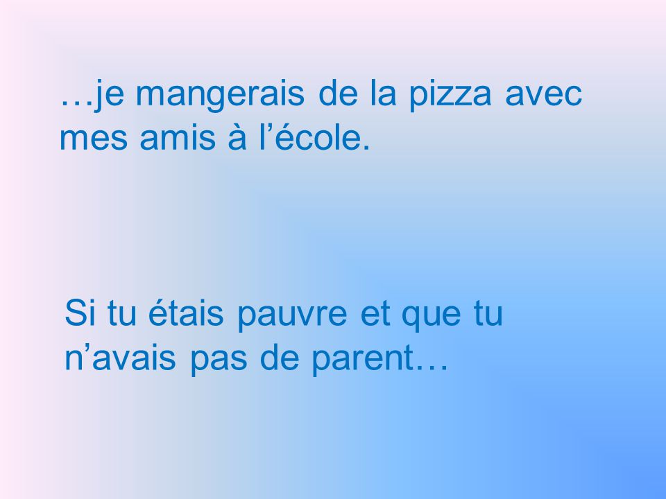 …je mangerais de la pizza avec mes amis à l'école.