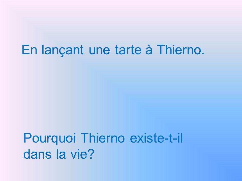 En lançant une tarte à Thierno. Pourquoi Thierno existe-t-il dans la vie