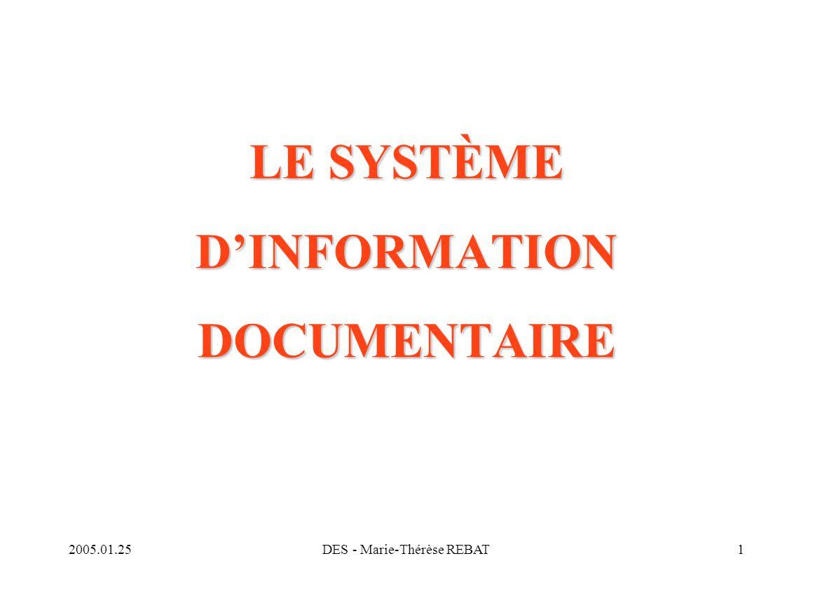 2005.01.25DES - Marie-Thérèse REBAT2 Plan Le Système d'information documentaire dans le contexte du système d'information global de l'établissement 1.