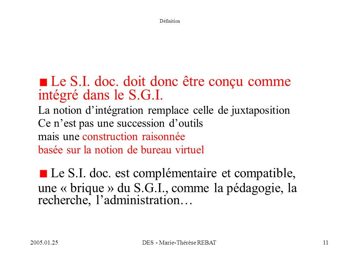 2005.01.25DES - Marie-Thérèse REBAT11 Définition Le S.I. doc. doit donc être conçu comme intégré dans le S.G.I. La notion d'intégration remplace celle