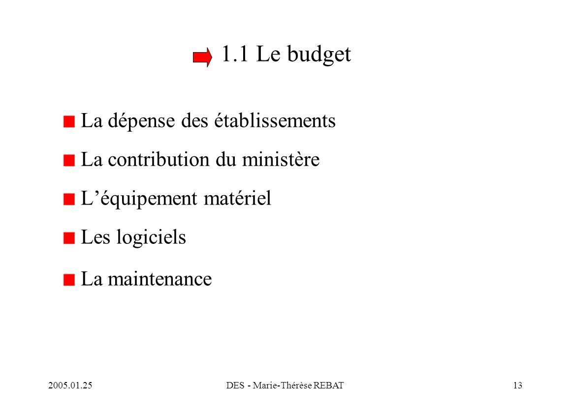 2005.01.25DES - Marie-Thérèse REBAT13 1.1 Le budget La dépense des établissements La contribution du ministère L'équipement matériel Les logiciels La