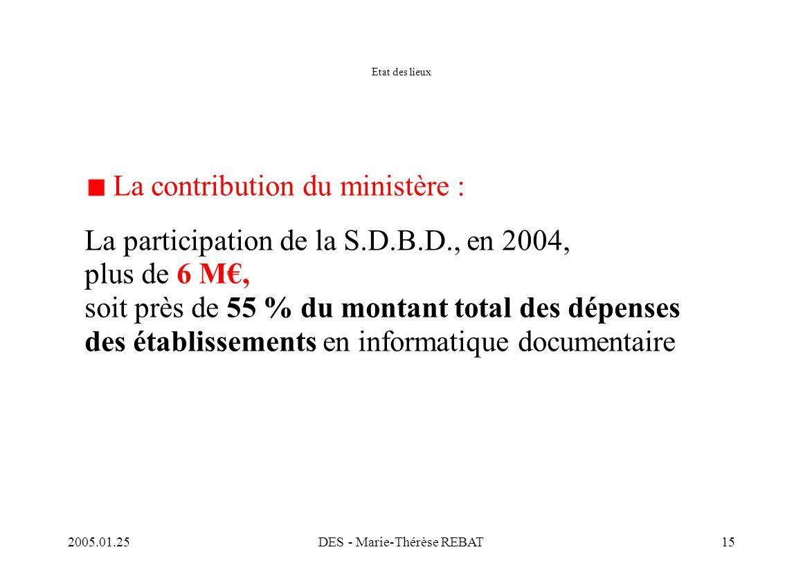 2005.01.25DES - Marie-Thérèse REBAT15 Etat des lieux La contribution du ministère : La participation de la S.D.B.D., en 2004, plus de 6 M€, soit près