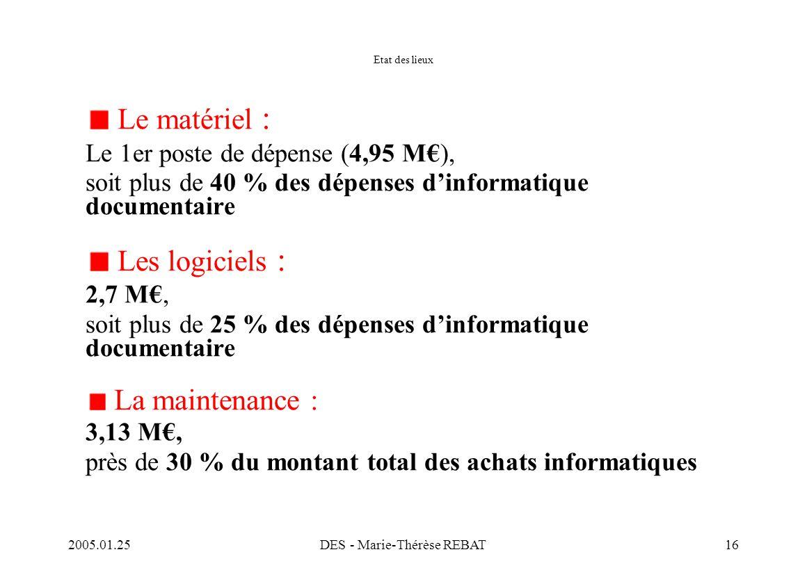 2005.01.25DES - Marie-Thérèse REBAT16 Etat des lieux Le matériel : Le 1er poste de dépense (4,95 M€), soit plus de 40 % des dépenses d'informatique do