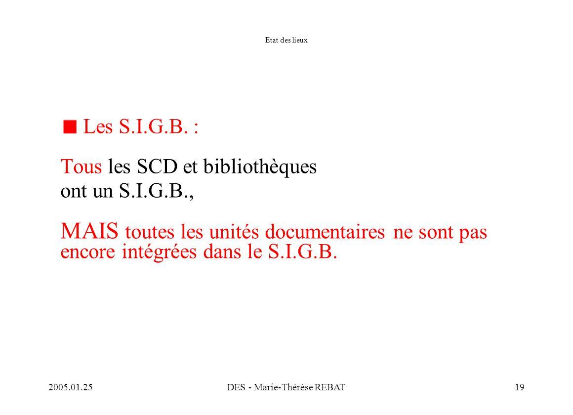 2005.01.25DES - Marie-Thérèse REBAT19 Etat des lieux Les S.I.G.B. : Tous les SCD et bibliothèques ont un S.I.G.B., MAIS toutes les unités documentaire