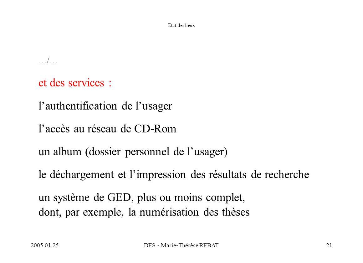 2005.01.25DES - Marie-Thérèse REBAT21 Etat des lieux …/… et des services : l'authentification de l'usager l'accès au réseau de CD-Rom un album (dossie
