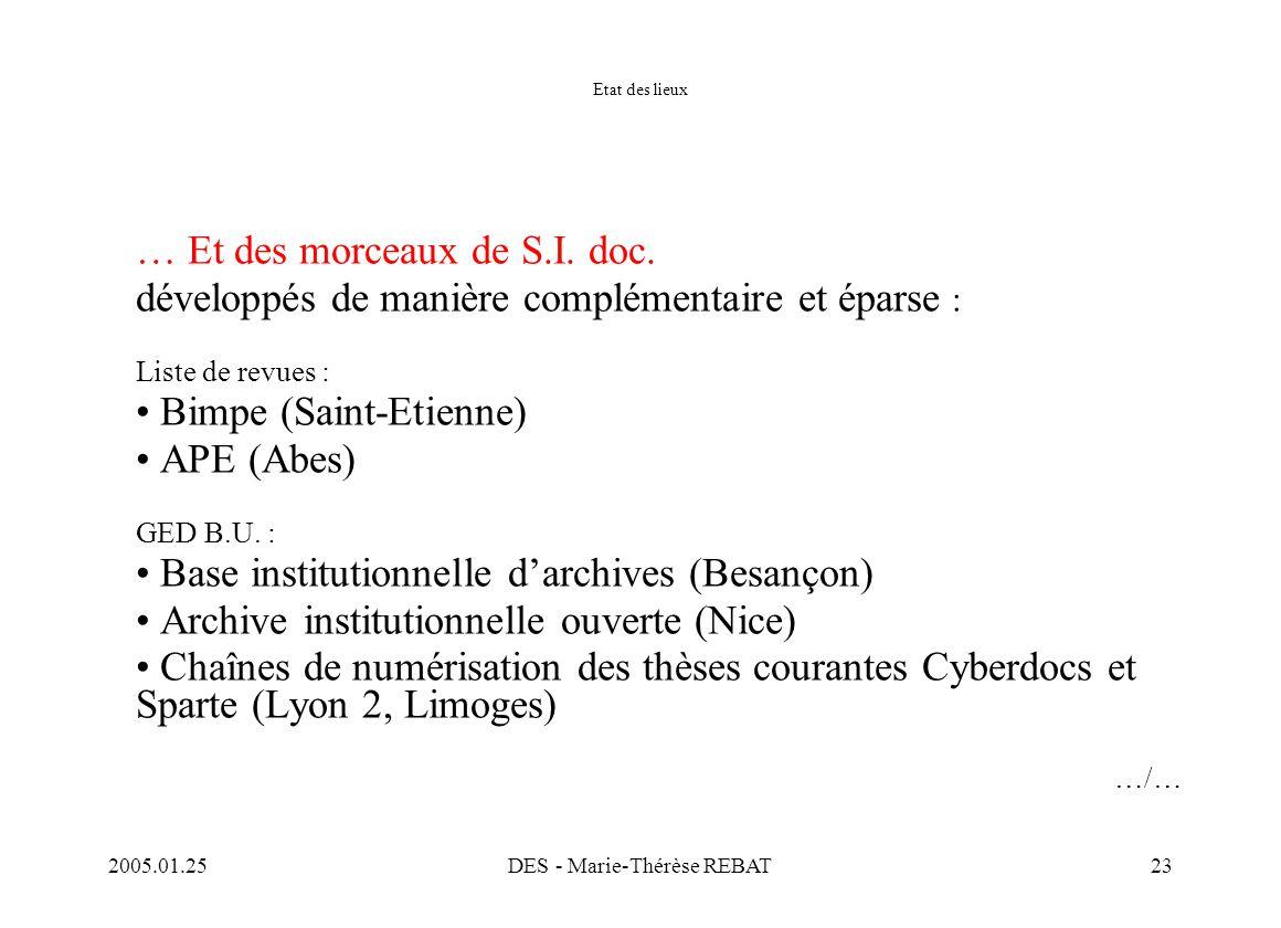 2005.01.25DES - Marie-Thérèse REBAT23 Etat des lieux … Et des morceaux de S.I. doc. développés de manière complémentaire et éparse : Liste de revues :