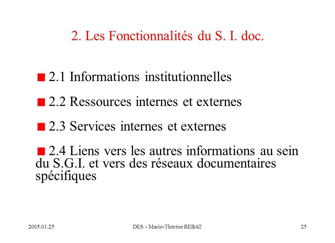 2005.01.25DES - Marie-Thérèse REBAT25 2. Les Fonctionnalités du S. I. doc. 2.1 Informations institutionnelles 2.2 Ressources internes et externes 2.3