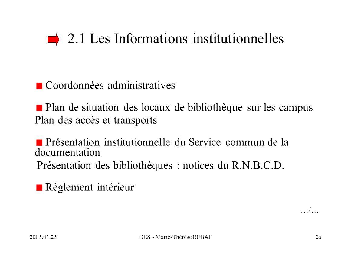 2005.01.25DES - Marie-Thérèse REBAT26 2.1 Les Informations institutionnelles Coordonnées administratives Plan de situation des locaux de bibliothèque