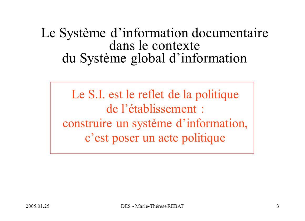 2005.01.25DES - Marie-Thérèse REBAT3 Le Système d'information documentaire dans le contexte du Système global d'information Le S.I. est le reflet de l