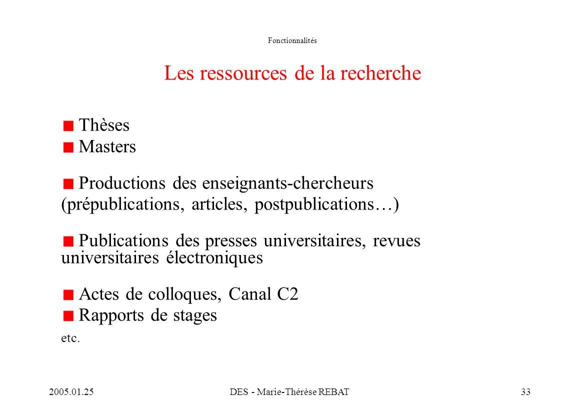 2005.01.25DES - Marie-Thérèse REBAT33 Fonctionnalités Les ressources de la recherche Thèses Masters Productions des enseignants-chercheurs (prépublica