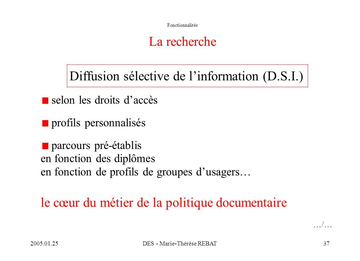 2005.01.25DES - Marie-Thérèse REBAT37 Fonctionnalités La recherche Diffusion sélective de l'information (D.S.I.) selon les droits d'accès profils pers