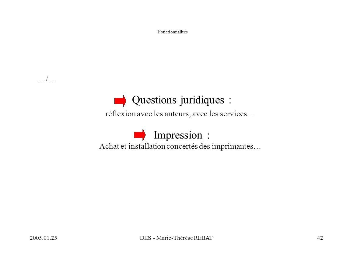 2005.01.25DES - Marie-Thérèse REBAT42 Fonctionnalités …/… Questions juridiques : réflexion avec les auteurs, avec les services… Impression : Achat et