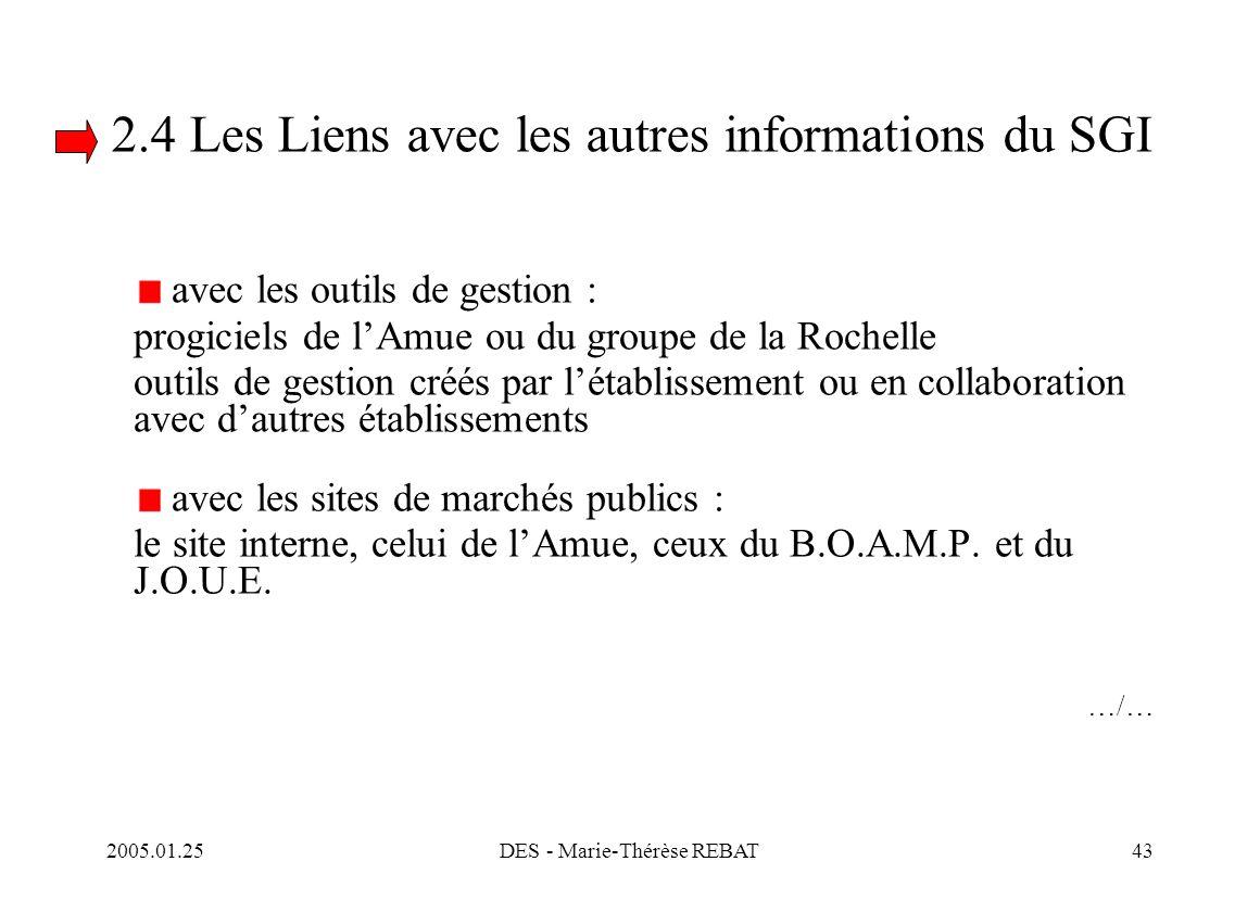 2005.01.25DES - Marie-Thérèse REBAT43 2.4 Les Liens avec les autres informations du SGI avec les outils de gestion : progiciels de l'Amue ou du groupe