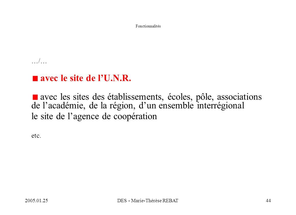 2005.01.25DES - Marie-Thérèse REBAT44 Fonctionnalités …/… avec le site de l'U.N.R. avec les sites des établissements, écoles, pôle, associations de l'