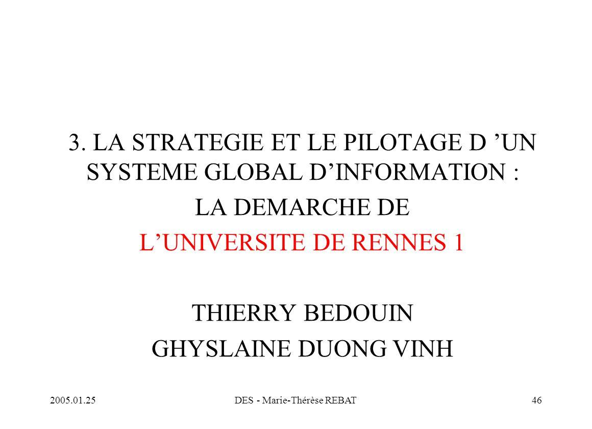 2005.01.25DES - Marie-Thérèse REBAT46 3. LA STRATEGIE ET LE PILOTAGE D 'UN SYSTEME GLOBAL D'INFORMATION : LA DEMARCHE DE L'UNIVERSITE DE RENNES 1 THIE