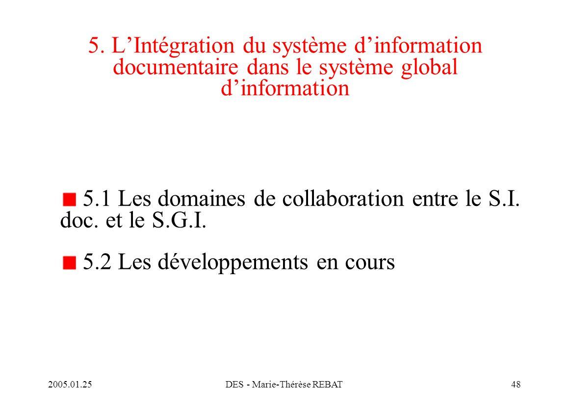 2005.01.25DES - Marie-Thérèse REBAT48 5. L'Intégration du système d'information documentaire dans le système global d'information 5.1 Les domaines de