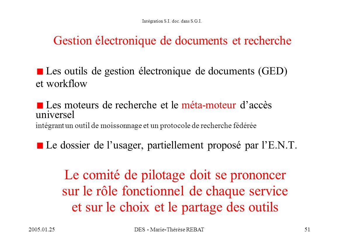 2005.01.25DES - Marie-Thérèse REBAT51 Intégration S.I. doc. dans S.G.I. Gestion électronique de documents et recherche Les outils de gestion électroni