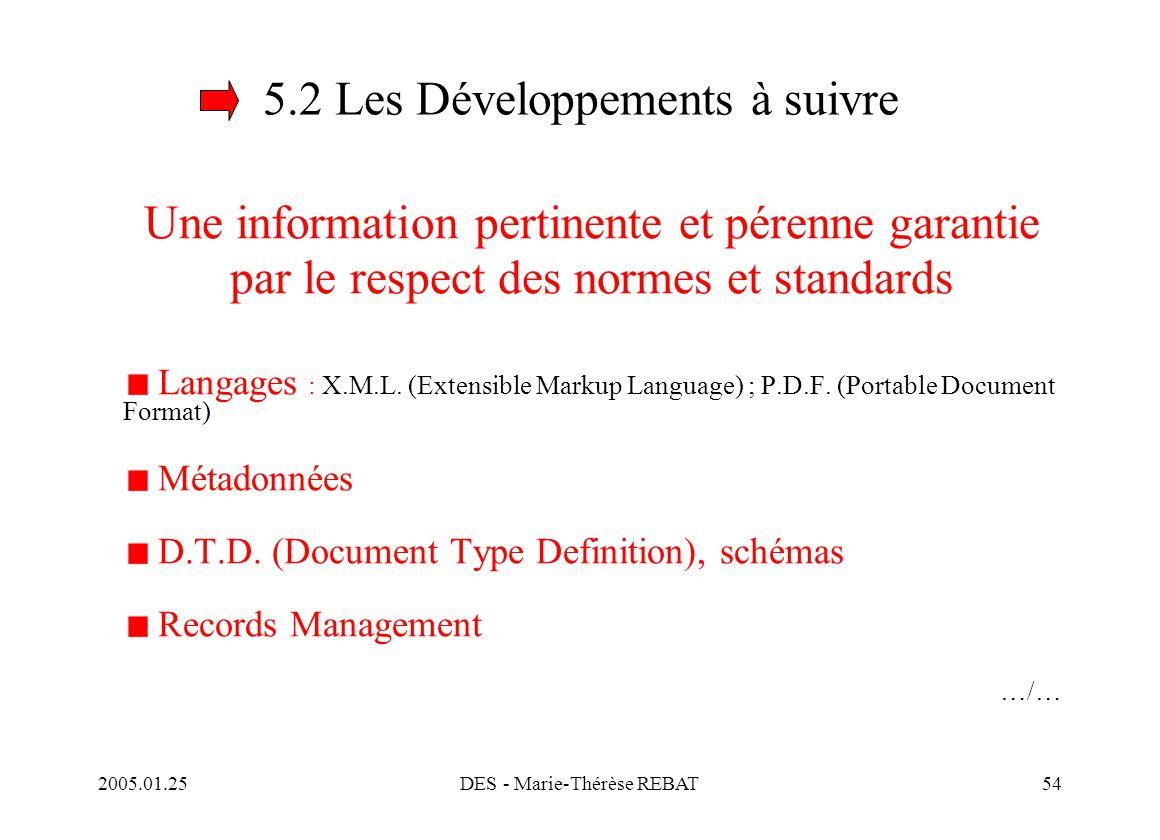 2005.01.25DES - Marie-Thérèse REBAT54 5.2 Les Développements à suivre Une information pertinente et pérenne garantie par le respect des normes et stan