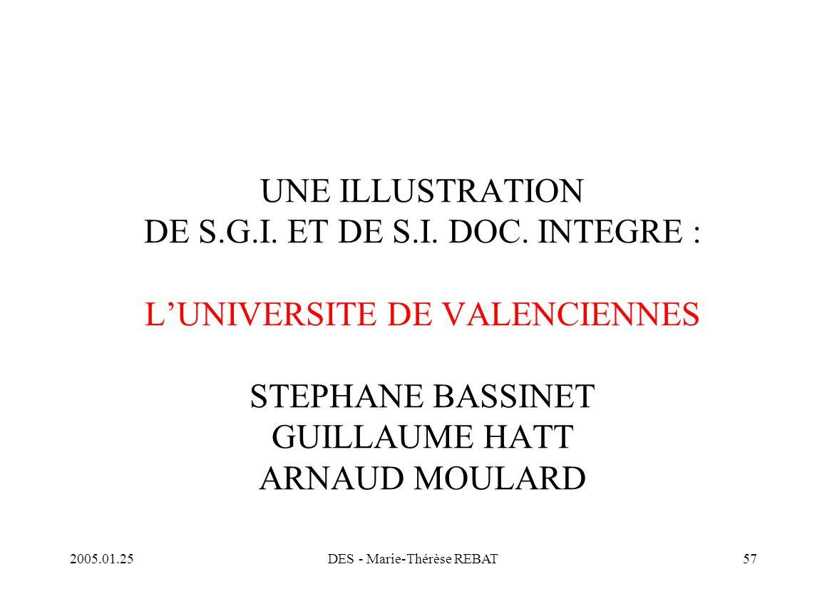 2005.01.25DES - Marie-Thérèse REBAT57 UNE ILLUSTRATION DE S.G.I. ET DE S.I. DOC. INTEGRE : L'UNIVERSITE DE VALENCIENNES STEPHANE BASSINET GUILLAUME HA