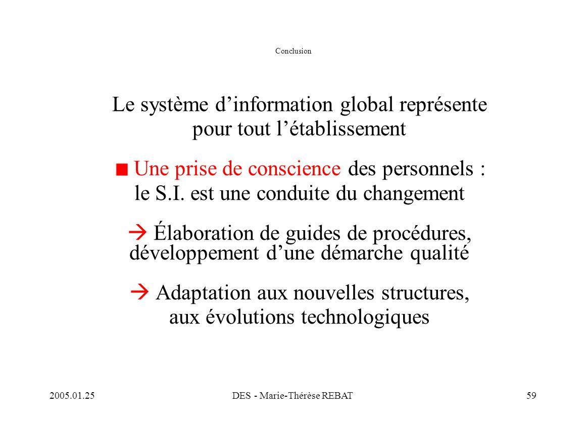 2005.01.25DES - Marie-Thérèse REBAT59 Conclusion Le système d'information global représente pour tout l'établissement Une prise de conscience des pers