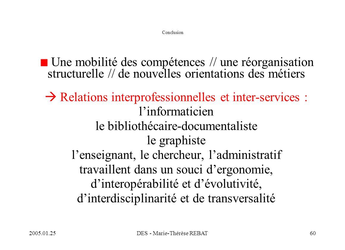 2005.01.25DES - Marie-Thérèse REBAT60 Conclusion Une mobilité des compétences // une réorganisation structurelle // de nouvelles orientations des méti