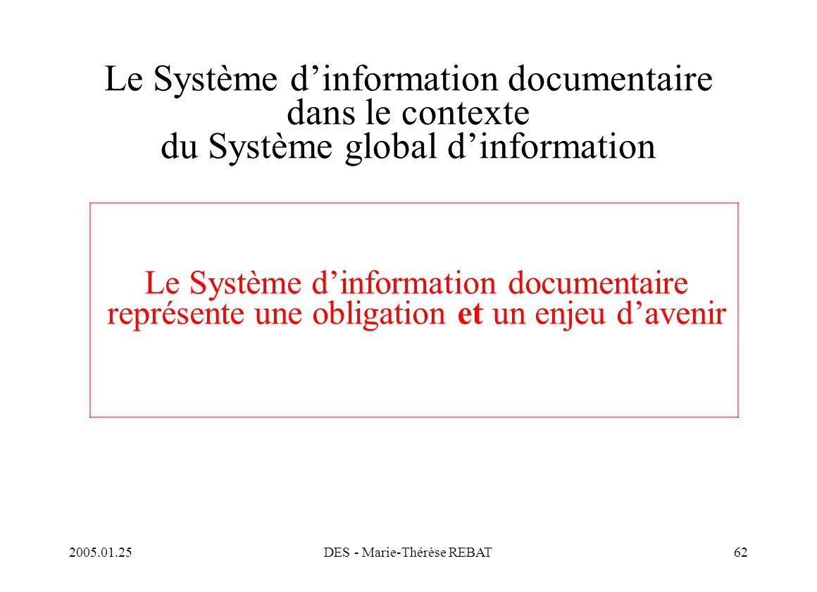 2005.01.25DES - Marie-Thérèse REBAT62 Le Système d'information documentaire dans le contexte du Système global d'information Le Système d'information