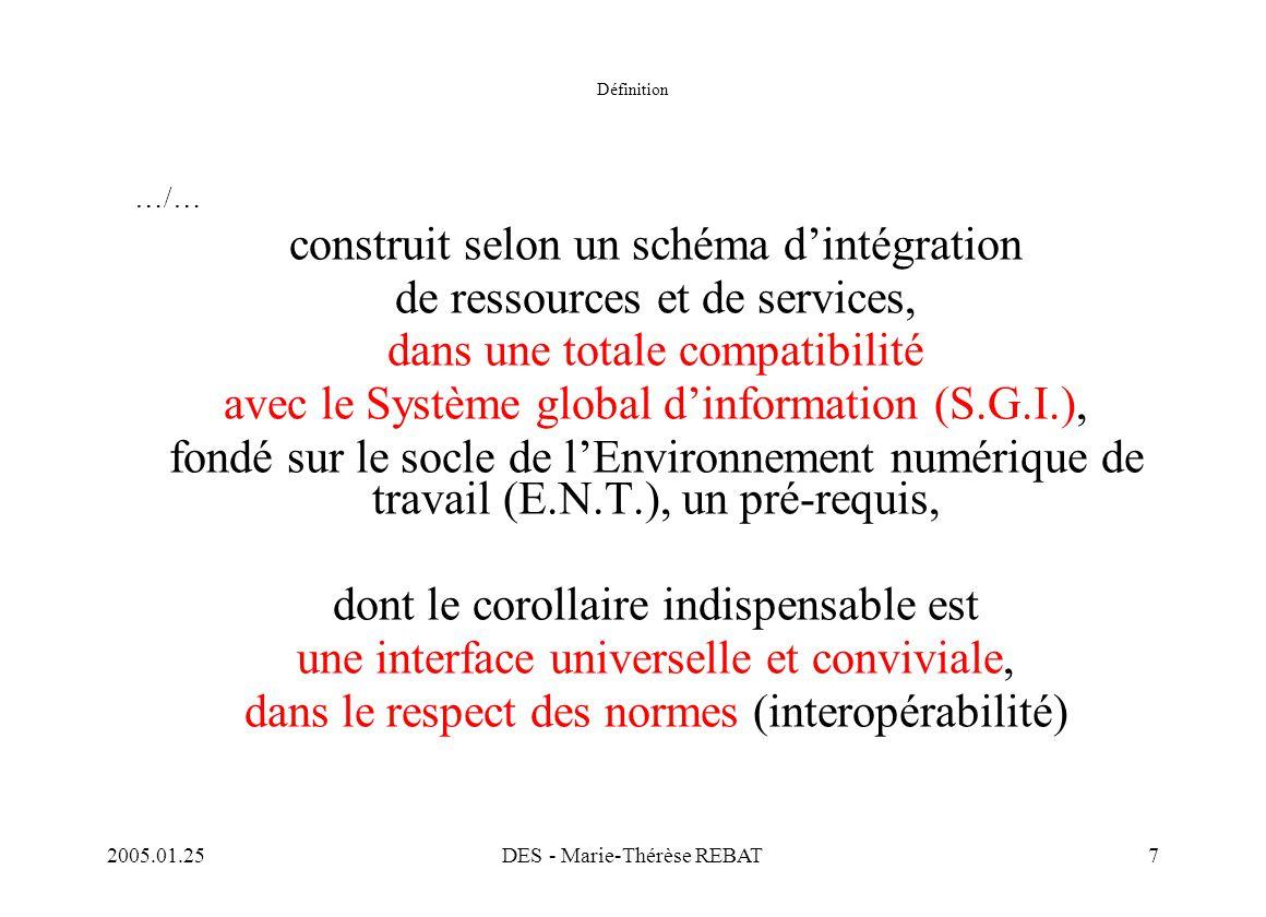 2005.01.25DES - Marie-Thérèse REBAT7 Définition …/… construit selon un schéma d'intégration de ressources et de services, dans une totale compatibilit