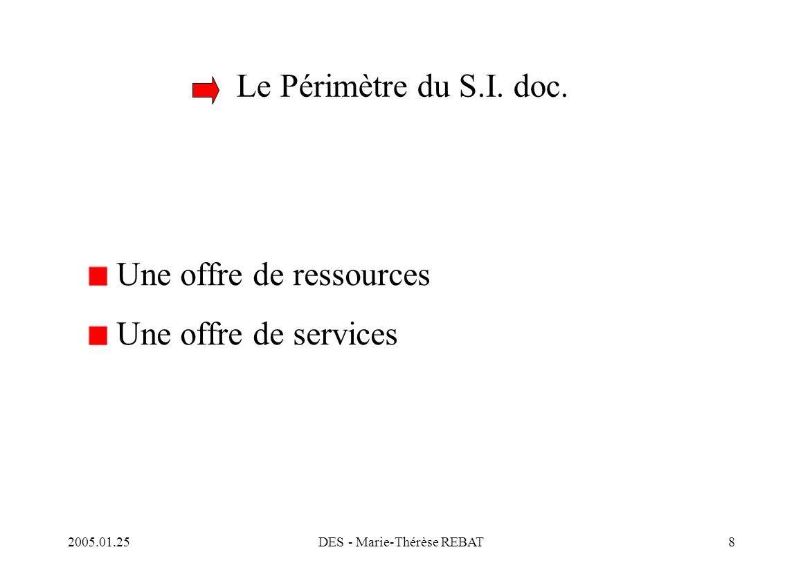 2005.01.25DES - Marie-Thérèse REBAT59 Conclusion Le système d'information global représente pour tout l'établissement Une prise de conscience des personnels : le S.I.