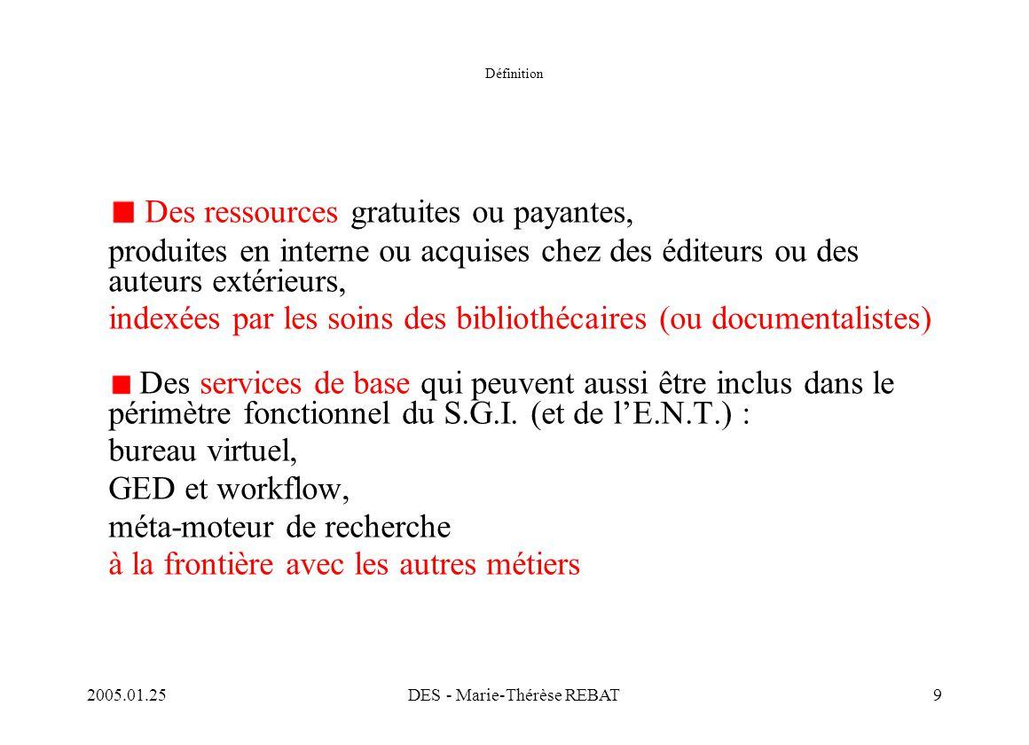 2005.01.25DES - Marie-Thérèse REBAT9 Définition Des ressources gratuites ou payantes, produites en interne ou acquises chez des éditeurs ou des auteur