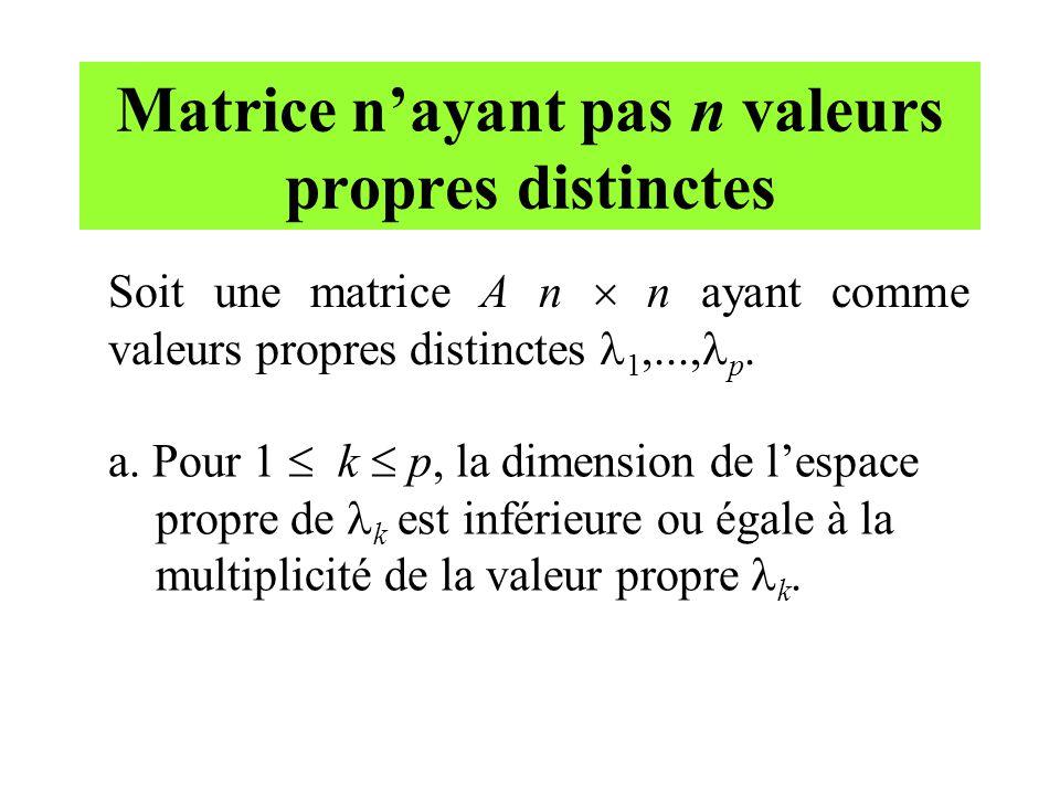 Matrice n'ayant pas n valeurs propres distinctes Soit une matrice A n  n ayant comme valeurs propres distinctes 1,..., p. a. Pour 1  k  p, la dimen