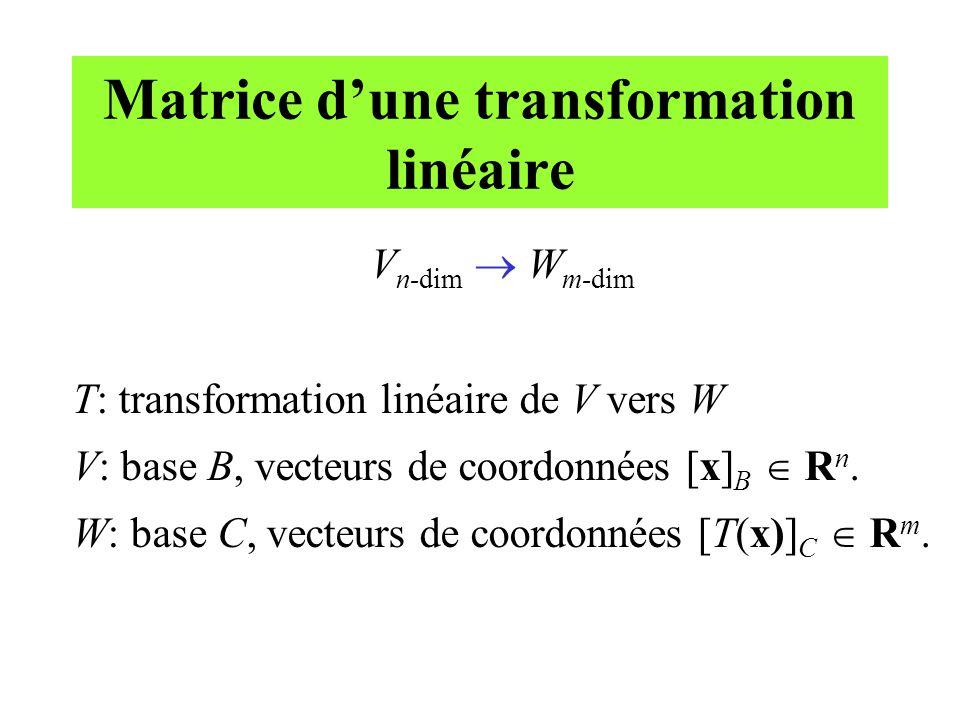 Matrice d'une transformation linéaire V n-dim  W m-dim T: transformation linéaire de V vers W V: base B, vecteurs de coordonnées [x] B  R n. W: base