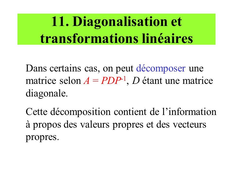 11. Diagonalisation et transformations linéaires Dans certains cas, on peut décomposer une matrice selon A = PDP -1, D étant une matrice diagonale. Ce