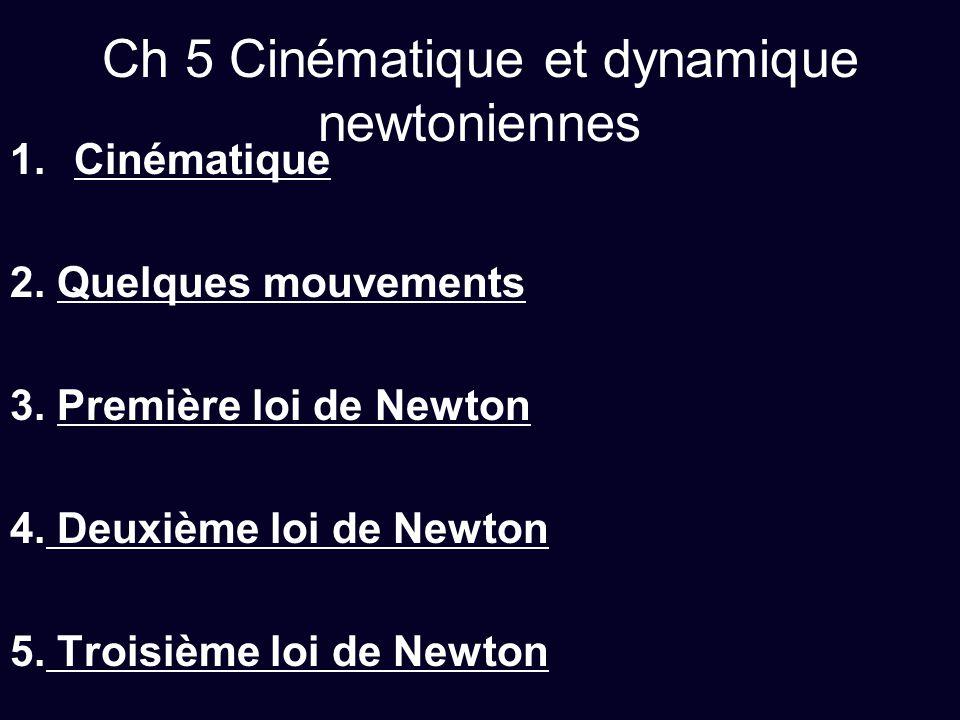 Ch 5 Cinématique et dynamique newtoniennes 1.Cinématique 2. Quelques mouvements 3. Première loi de Newton 4. Deuxième loi de Newton 5. Troisième loi d