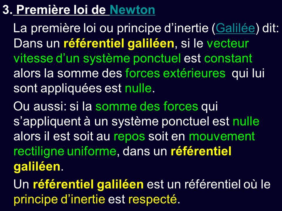 3. Première loi de NewtonNewton La première loi ou principe d'inertie (Galilée) dit: Dans un référentiel galiléen, si le vecteur vitesse d'un système