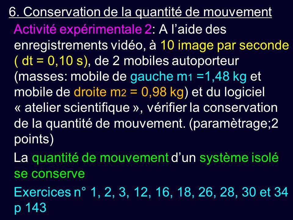 6. Conservation de la quantité de mouvement Activité expérimentale 2: A l'aide des enregistrements vidéo, à 10 image par seconde ( dt = 0,10 s), de 2