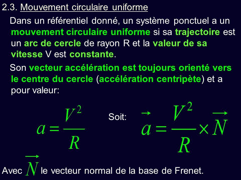 2.3. Mouvement circulaire uniforme Dans un référentiel donné, un système ponctuel a un mouvement circulaire uniforme si sa trajectoire est un arc de c