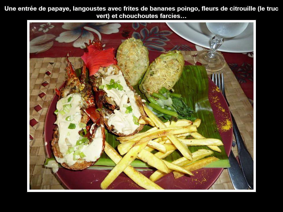 Une entrée de papaye, langoustes avec frites de bananes poingo, fleurs de citrouille (le truc vert) et chouchoutes farcies…