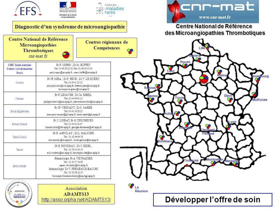 Paris Développer l'offre de soin Centre National de Référence des Microangiopathies Thrombotiques des Microangiopathies Thrombotiques Diagnostic d'un