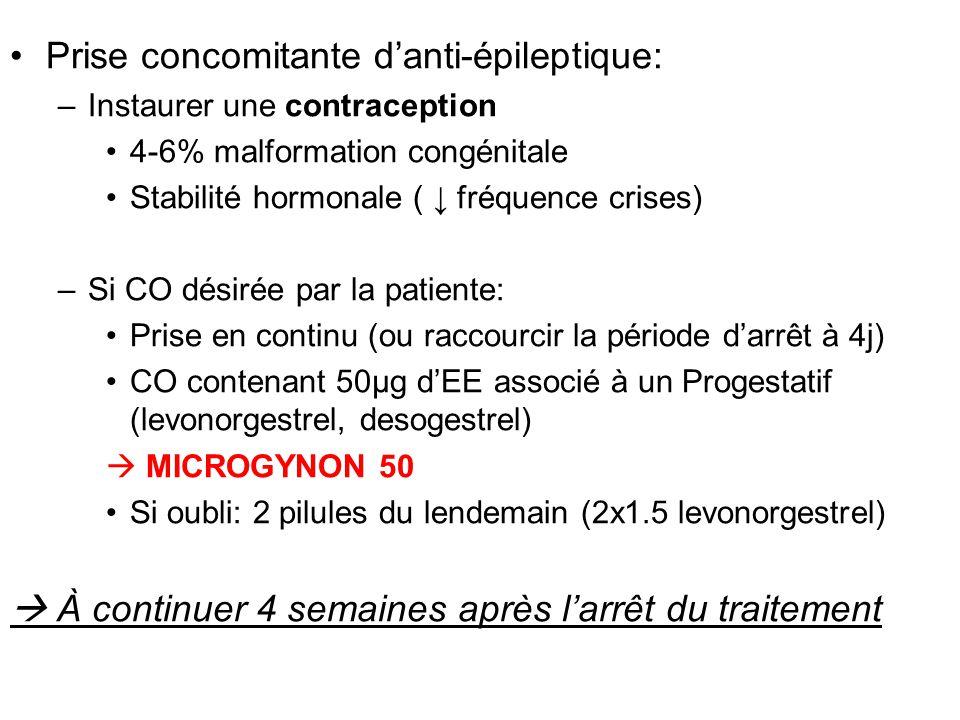 Prise concomitante d'anti-épileptique: –Instaurer une contraception 4-6% malformation congénitale Stabilité hormonale ( ↓ fréquence crises) –Si CO dés