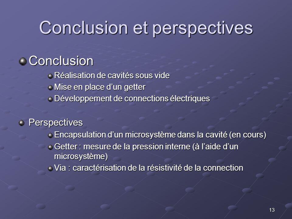 13 Conclusion Réalisation de cavités sous vide Mise en place d'un getter Développement de connections électriques Perspectives Encapsulation d'un micr