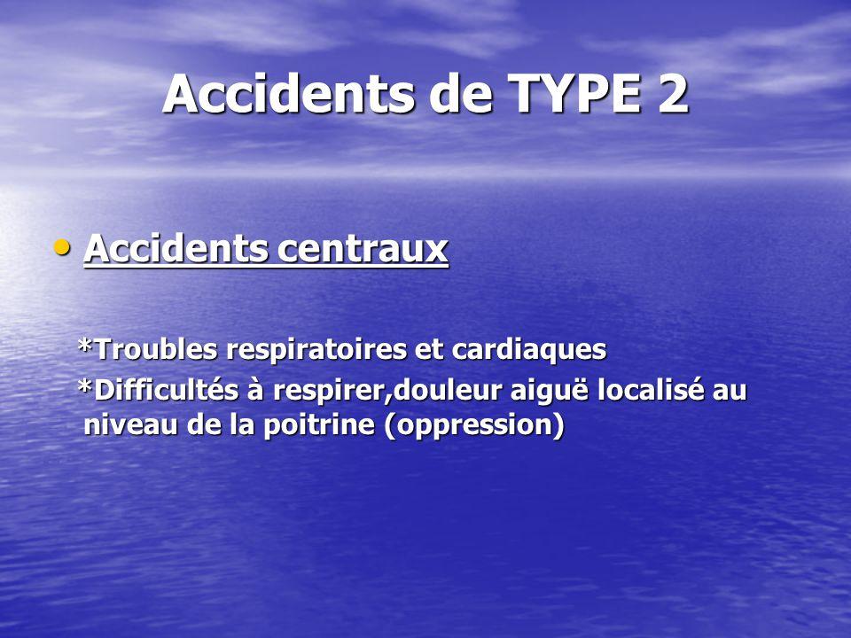 Accidents de TYPE 2 Accidents centraux Accidents centraux *Troubles respiratoires et cardiaques *Troubles respiratoires et cardiaques *Difficultés à r