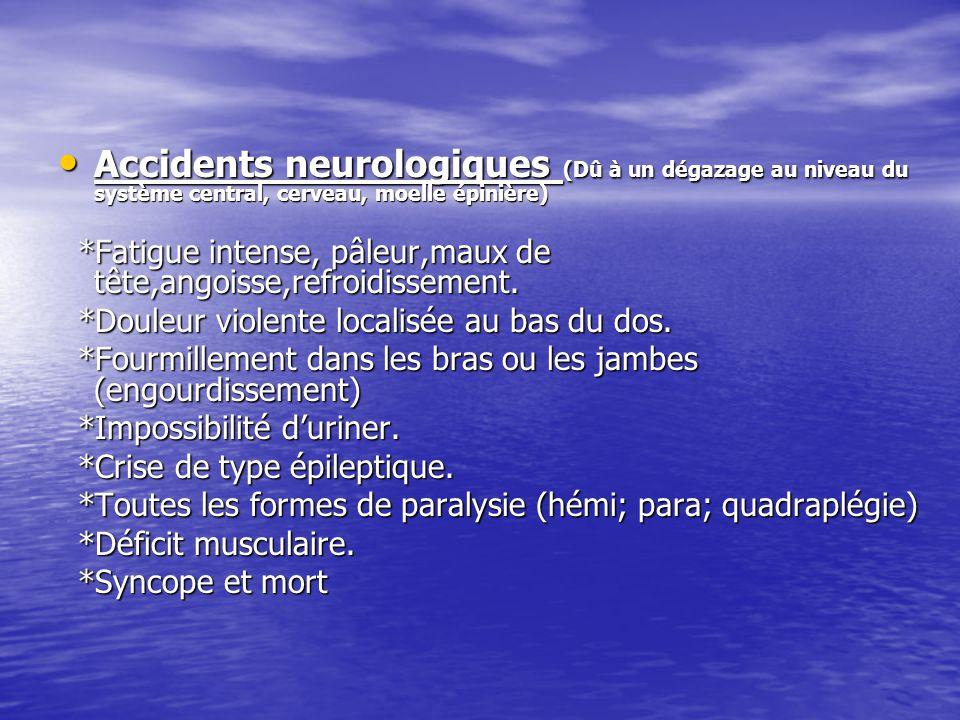 Accidents neurologiques (Dû à un dégazage au niveau du système central, cerveau, moelle épinière) Accidents neurologiques (Dû à un dégazage au niveau