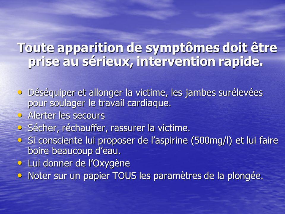 Toute apparition de symptômes doit être prise au sérieux, intervention rapide. Déséquiper et allonger la victime, les jambes surélevées pour soulager