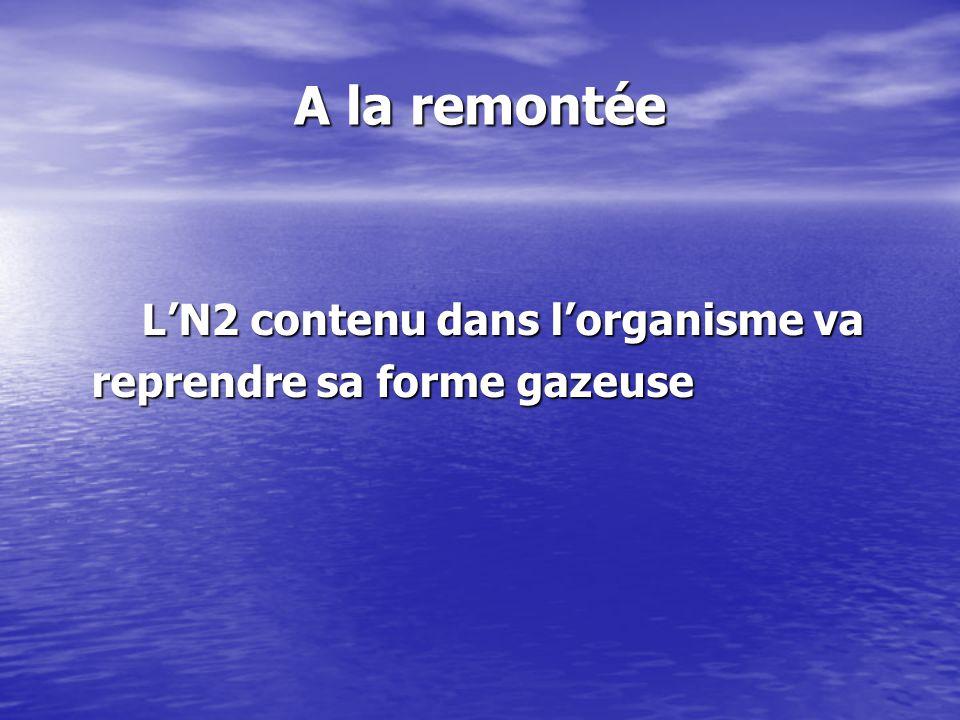 A la remontée L'N2 contenu dans l'organisme va L'N2 contenu dans l'organisme va reprendre sa forme gazeuse reprendre sa forme gazeuse