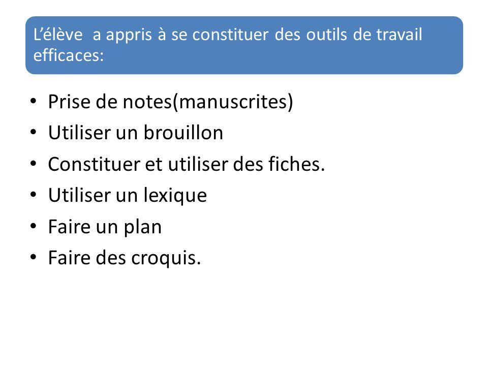 L'élève a appris à se constituer des outils de travail efficaces: Prise de notes(manuscrites) Utiliser un brouillon Constituer et utiliser des fiches.